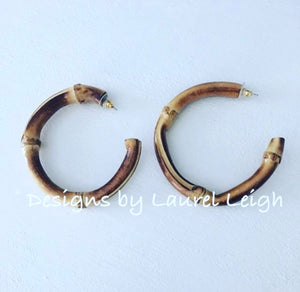 Bamboo Open Hoop Earrings - Natural - Ginger jar