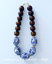 Load image into Gallery viewer, Chunky Short Chinoiserie Beaded Statement Necklace - Brown - 2 Options - Ginger jar