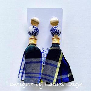 Chinoiserie Sari Silk Tartan Plaid Tassel Statement Earrings - Ginger jar