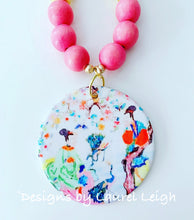 Load image into Gallery viewer, Chinoiserie Watercolor Geisha Pendant Statement Necklace - Bubblegum Pink