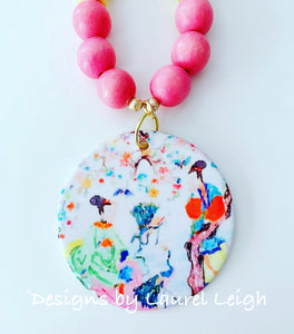 Chinoiserie Watercolor Geisha Pendant Statement Necklace - Bubblegum Pink
