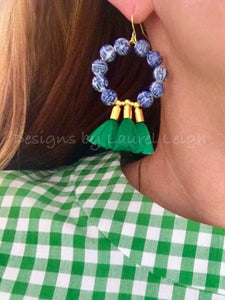Chinoiserie Beaded Tassel Hoop Earrings - Green - Ginger jar