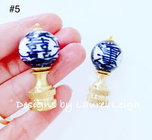 Load image into Gallery viewer, Blue and White Chinoiserie Lamp Finials - Ginger jar