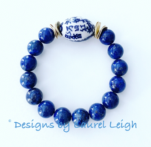Load image into Gallery viewer, Blue and White Chinoiserie Floral Calligraphy Bead Statement Bracelet - Lapis Lazuli Gemstones - Ginger jar