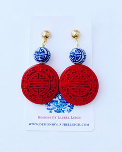 Red, White & Blue Chinoiserie Drop Earrings - Ginger jar