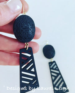 Chinoiserie Chippendale Statement Earrings - Black - Ginger jar