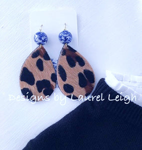 Chinoiserie Leather Leopard Print Statement Earrings - Black & Tan - Ginger jar