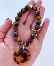 Load image into Gallery viewer, Brown Tiger's Eye Gemstone Beaded Bracelet with Chinoiserie Tortoise Longevity Charm - Ginger jar