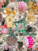 Load image into Gallery viewer, Rose Medallion Watercolor Two-Sided Christmas Ornament - Gingham in Two Colors - Ginger jar