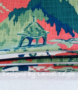 Chinoiserie Accent Throw Pillow Covers - Robert Allen Madcap Cottage Road to Canton Designer Fabric - Rhubarb - Ginger jar