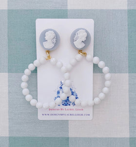 Wedgwood Blue & White Cameo Hoop Earrings - Ginger jar