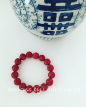 Load image into Gallery viewer, Red Chinoiserie Carved Cinnabar Longevity Symbol Statement Bracelet - Ginger jar