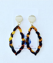 Load image into Gallery viewer, Marquis Tortoise Shell Statement Earrings - Brown or Blue w/ Gold Posts - Ginger jar
