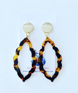 Marquis Tortoise Shell Statement Earrings - Brown or Blue w/ Gold Posts - Ginger jar