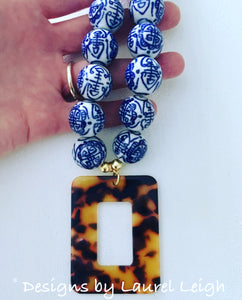 Blue and White Chinoiserie Tortoise Shell Pendant Statement Necklace - White or Brown - Ginger jar