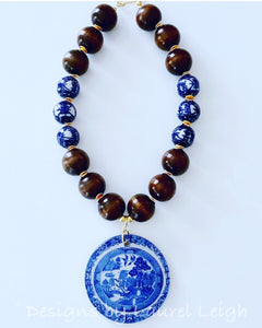 Blue Willow Chinoiserie Double Happiness Pendant Statement Necklace - Brown - Ginger jar