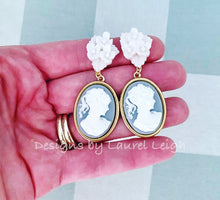 Load image into Gallery viewer, Wedgwood Blue & White Cameo Earrings - 6 Styles - Ginger jar