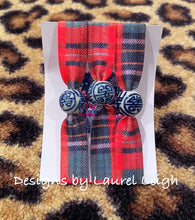 Load image into Gallery viewer, Chinoiserie Elastic Hair Ties- Set of 3 - Red Tartan Plaid