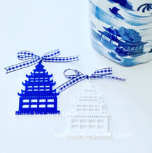 Load image into Gallery viewer, Chinoiserie Pagoda Christmas Ornament - Blue/White/Red - Ginger jar