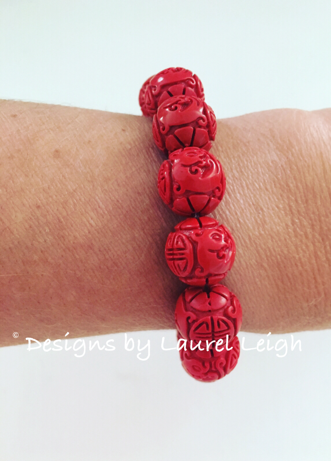Red Chinoiserie Carved Cinnabar Longevity Symbol Statement Bracelet - Designs by Laurel Leigh