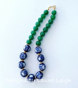 Chunky Green Jade Chinoiserie Double Happiness Statement Necklace - Ginger jar