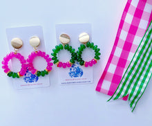 Load image into Gallery viewer, Pink & Green Gemstone Beaded Post Hoops - Two Color Options - Ginger jar