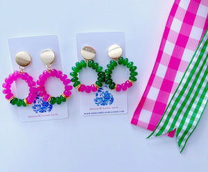Pink & Green Gemstone Beaded Post Hoops - Two Color Options - Ginger jar