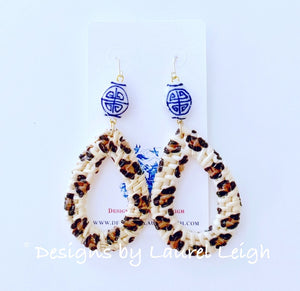 Chinoiserie Animal Print Rattan Earrings - Two Styles - Ginger jar