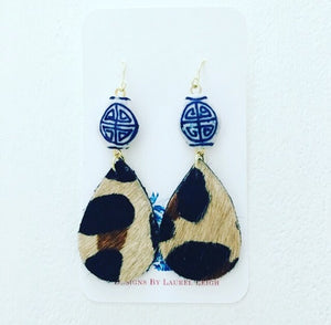 Chinoiserie Leather Leopard Print Statement Earrings - Small Teardrops - Ginger jar