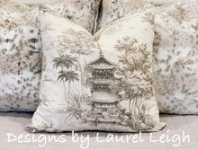 Load image into Gallery viewer, Chinoiserie Pagoda Motif Pillow Cover Set (2) - Griege & Off-White - Ginger jar