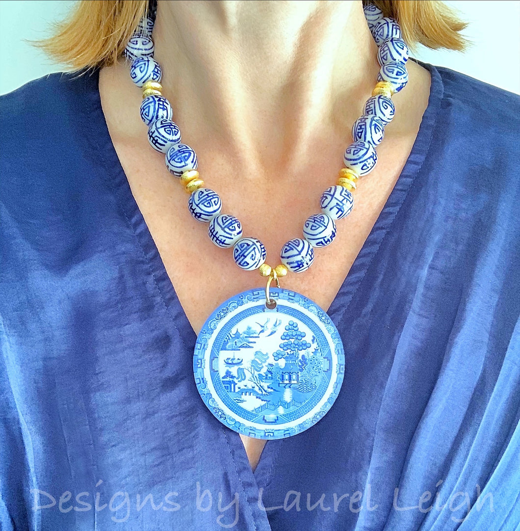 Chinoiserie Beaded Statement Necklace with Blue Willow Pendant - Ginger jar