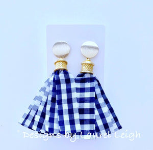 Silk Gingham Tassel Statement Earrings - Navy - Ginger jar