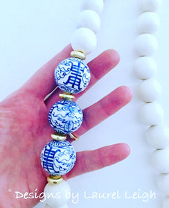 Blue and White Chinoiserie Statement Necklace - Designs by Laurel Leigh