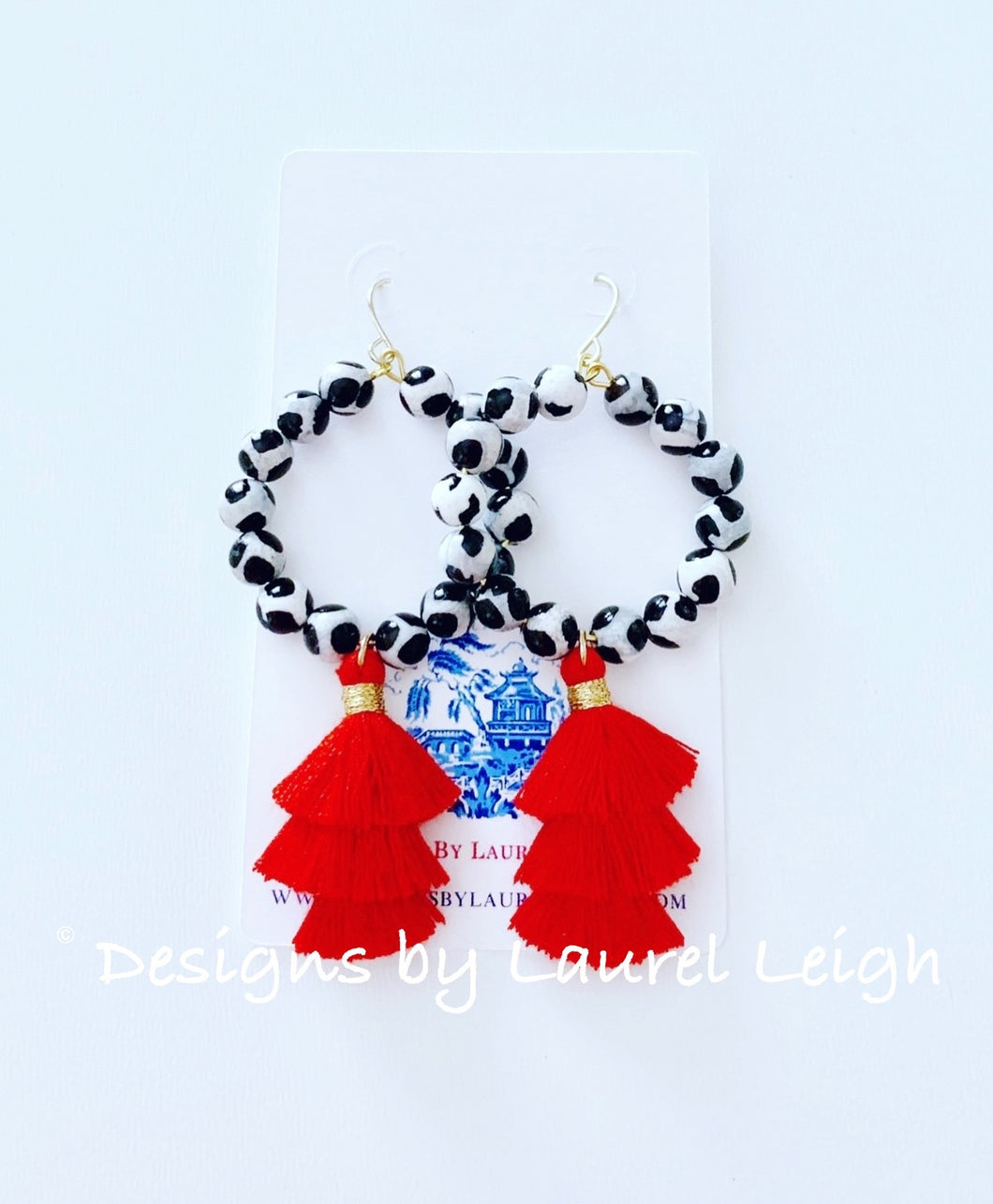 Black, White & Red Tiered Tassel Earrings - Ginger jar