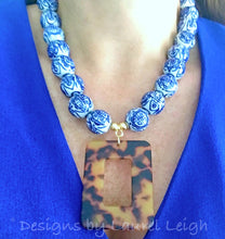 Load image into Gallery viewer, Blue and White Chinoiserie Tortoise Shell Pendant Statement Necklace - White or Brown - Ginger jar