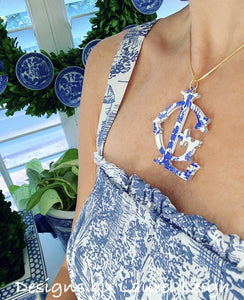 Blue Willow Chinoiserie Monogram Necklace - Blue - 2 Styles - Ginger jar