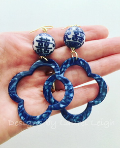 Blue and White Chinoiserie Double Happiness Quatrefoil Statement Earrings - Royal Blue Marbled Tortoise - Ginger jar