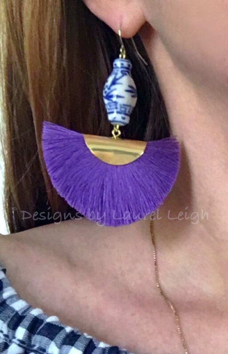 Chinoiserie Ginger Jar Fan Tassel Earrings - Purple - Ginger jar