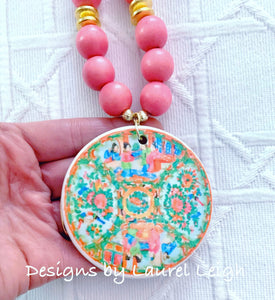Rose Medallion Chinoiserie Pendant Necklace - Pink - Ginger jar
