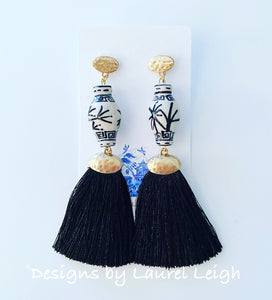Chinoiserie Ginger Jar Tassel Earrings - Black & White