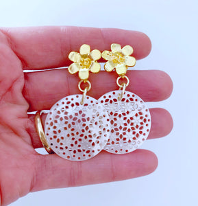 Floral Mother of Pearl Earrings - Ginger jar