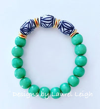 Load image into Gallery viewer, Chinoiserie Bead Statement Bracelet - Kelly Green - Ginger jar