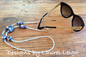 Chinoiserie Ginger Jar & Pearl Eyeglass / Sunglass / Mask Holder / Lanyard Chain / Necklace - 3 Styles