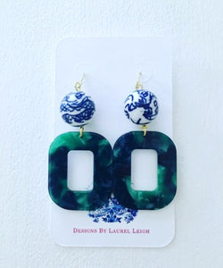 Chinoiserie Green Marbled Tortoise Shell Statement Earrings - Ginger jar