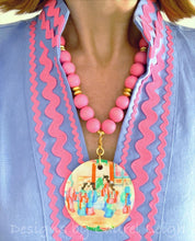 Load image into Gallery viewer, Pink Rose Medallion Chinoiserie Pendant Necklace - 2-Sided - Ginger jar