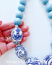 Load image into Gallery viewer, Chunky Short Chinoiserie Beaded Statement Necklace - Spa Blue - Ginger jar