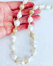 Load image into Gallery viewer, Baroque Pearl and Gold Bead Statement Necklace - Adjustable - Ginger jar