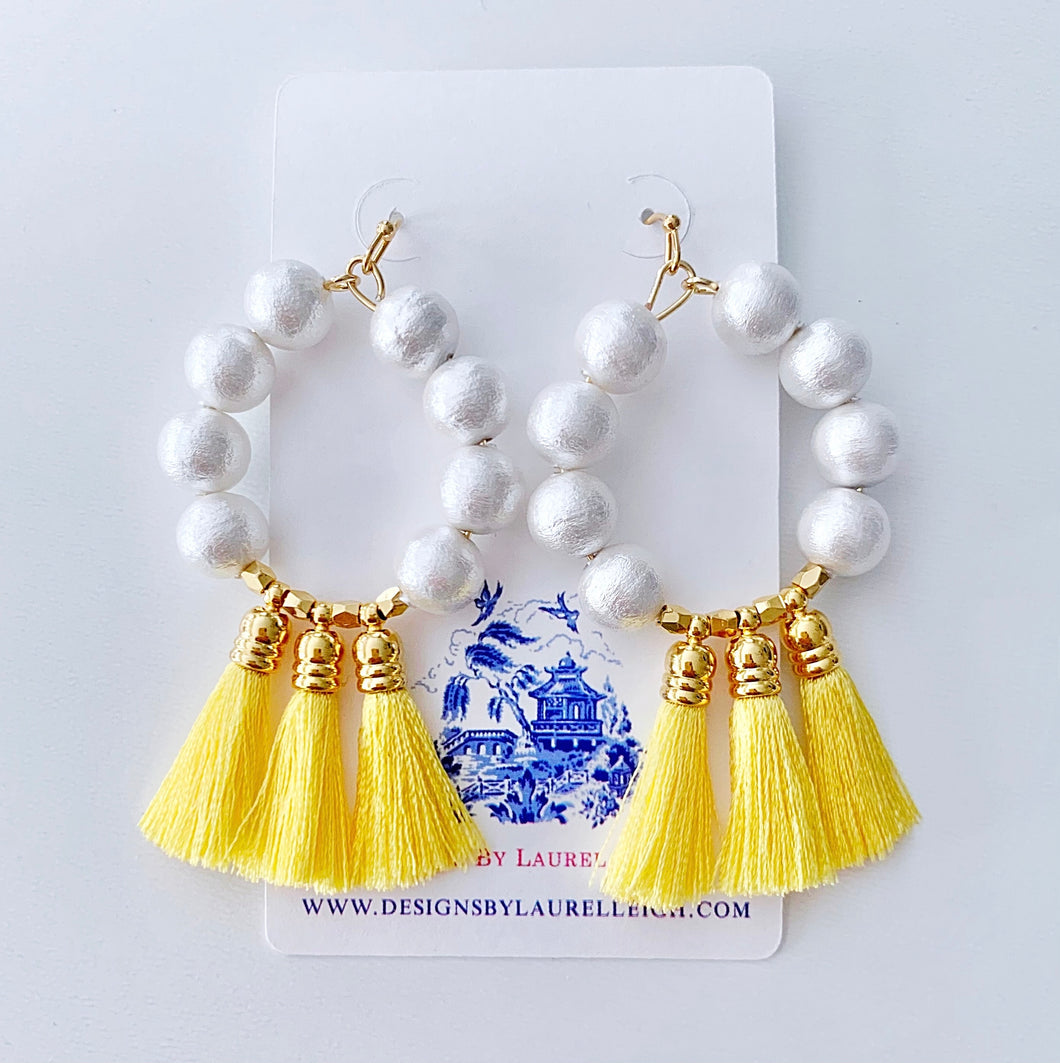 Yellow Tassel Cotton Pearl Hoop Earrings