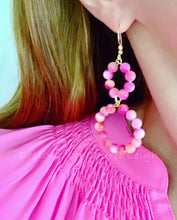 Load image into Gallery viewer, Gemstone Beaded Drop Hoops - Pink & Coral - Ginger jar