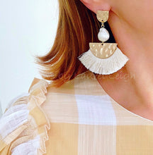 Load image into Gallery viewer, Ivory & Hammered Gold Baroque Pearl Fan Tassel Earrings - Ginger jar
